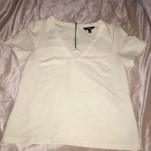 Off white, v-neck, short sleeved blouse
